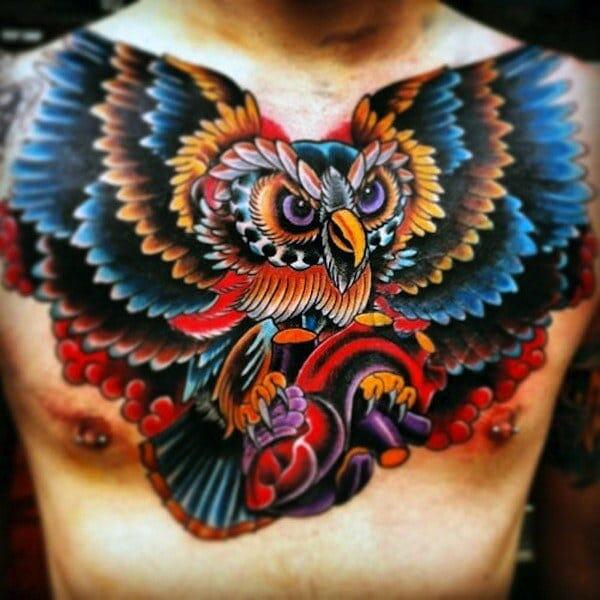 Multi-Colour Owl Tattoo