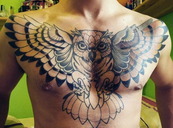 Owl Tattoo Chest Design