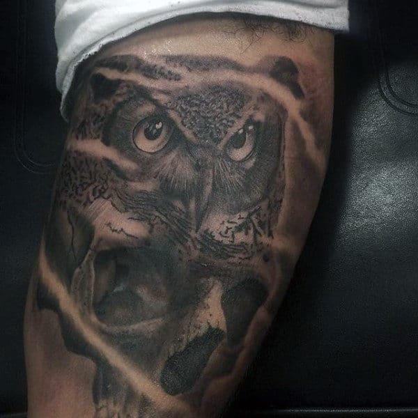 Owl Leg Tattoo