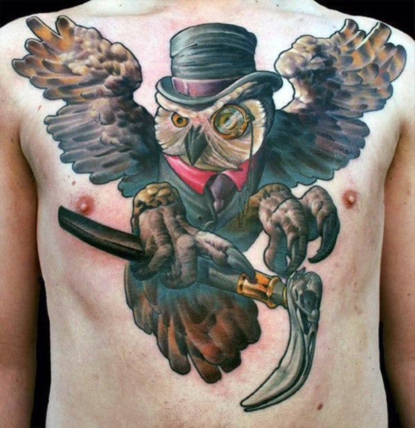 Owl With Hat Tattoo