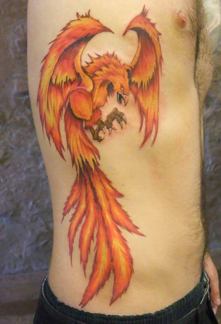 Cool Flame Phoenix Rib Tattoo