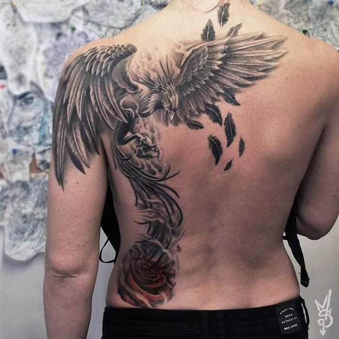 Flying Phoenix Back Tattoo
