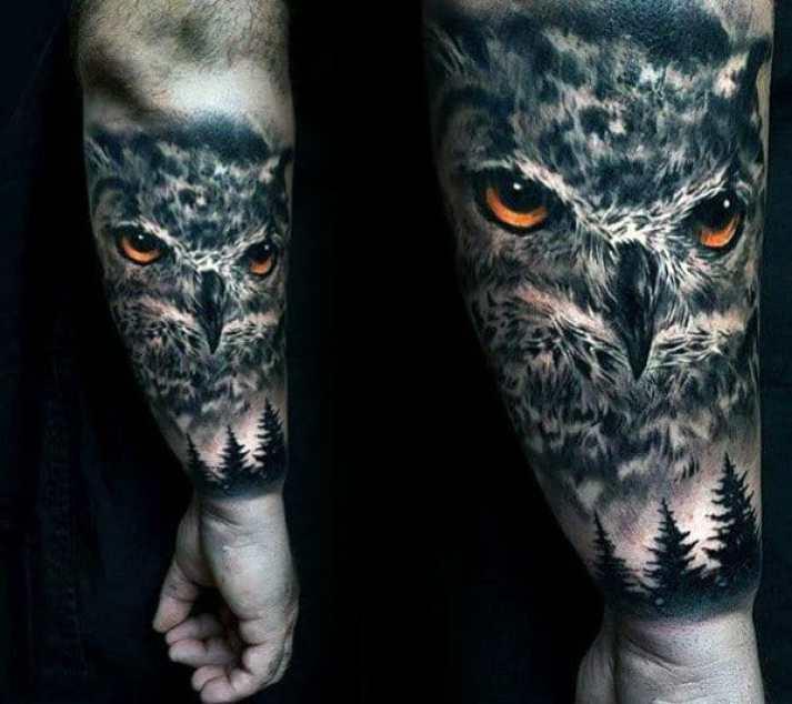 Pine Tree & Owl Tattoo