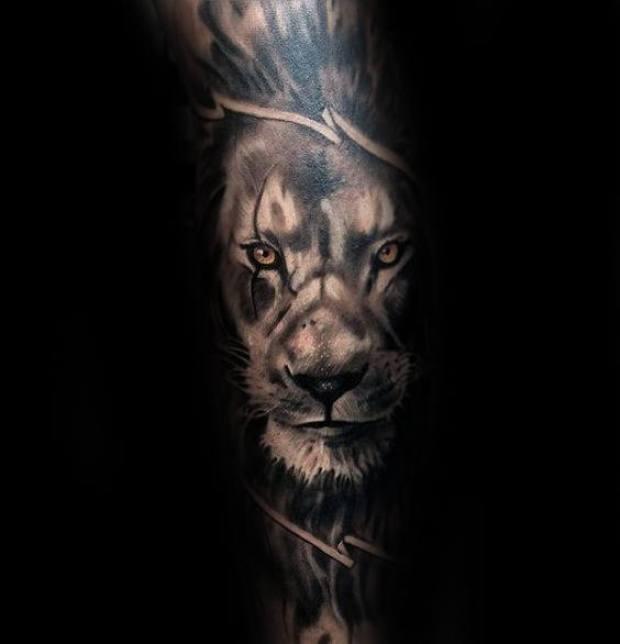 Shaded Lion Tattoo