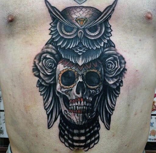 Owl With Skull Tattoo