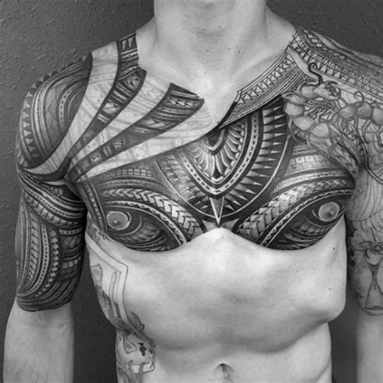 Samoan Full Chest Tattoo & Half Sleeve