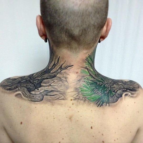 Pine Needle Tree Back Tattoo