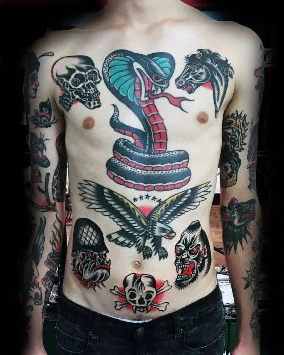 Sailor Jerry Full Chest Tattoo