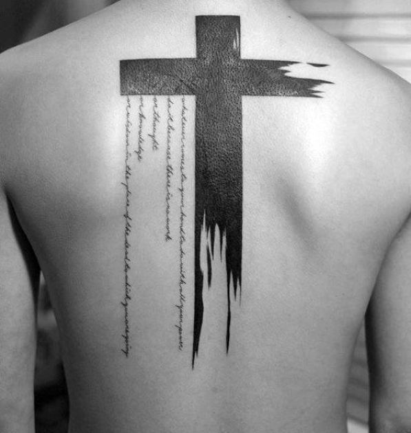 Bold Cross Back Tattoo