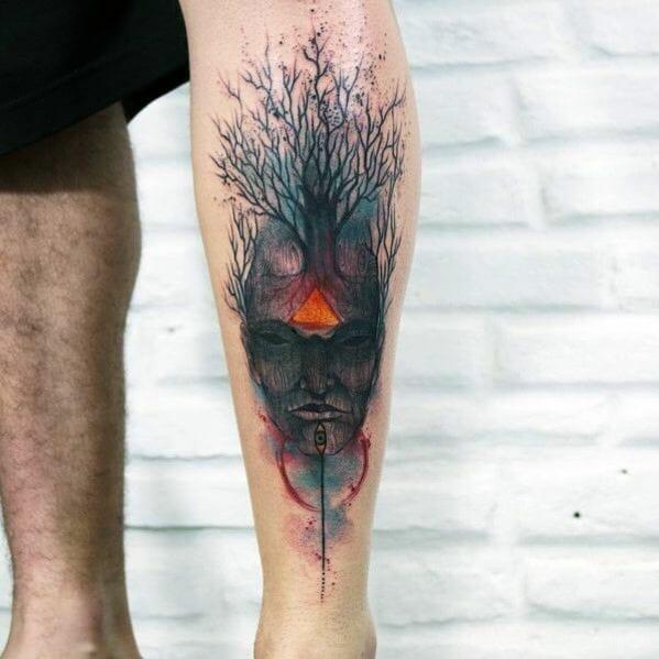 Watercolour Tree Leg Tattoo