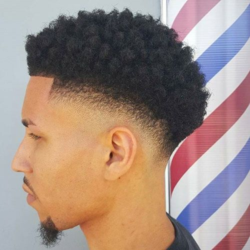 Medium Afro Low Fade with styled Beard & Moustache