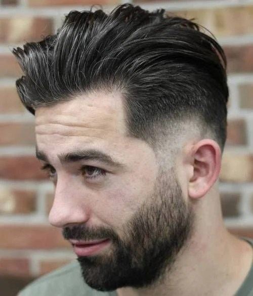 Brown Low Fade with Pompadour & Thin Full Beard