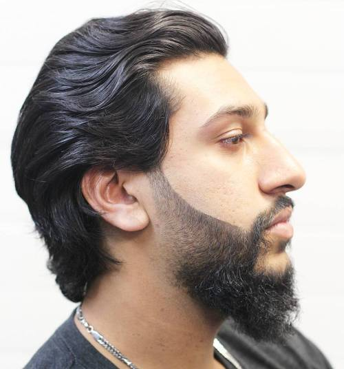 Medium Swept Back Black Hair with Faded Full Goatee
