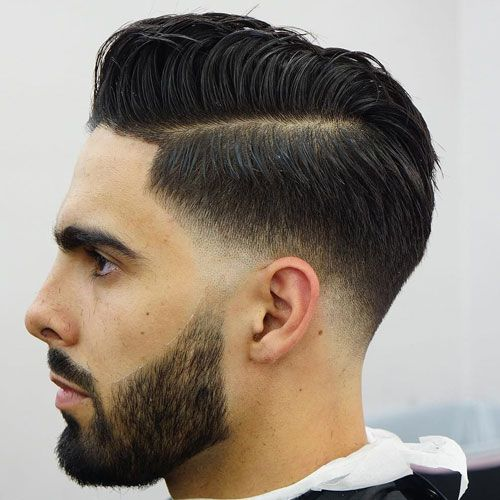 Slicked Hairstyle Low Fade