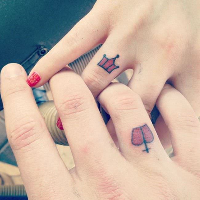 Couples Crowns Hand Tattoos