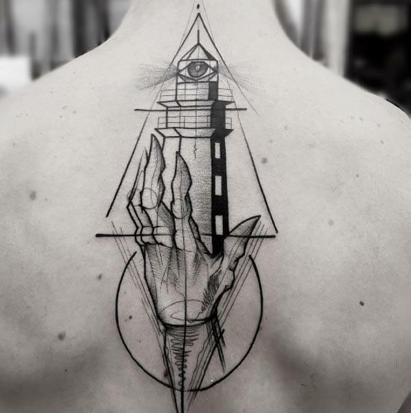 Lighthouse Back Tattoo