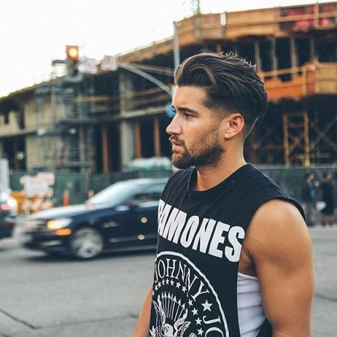 Brown Low Fade Medium Styled Hairstyle with Full Beard