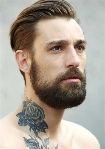 Slicked Back Brown Hair with Bandholz Beard & Rose Tattoo On Neck