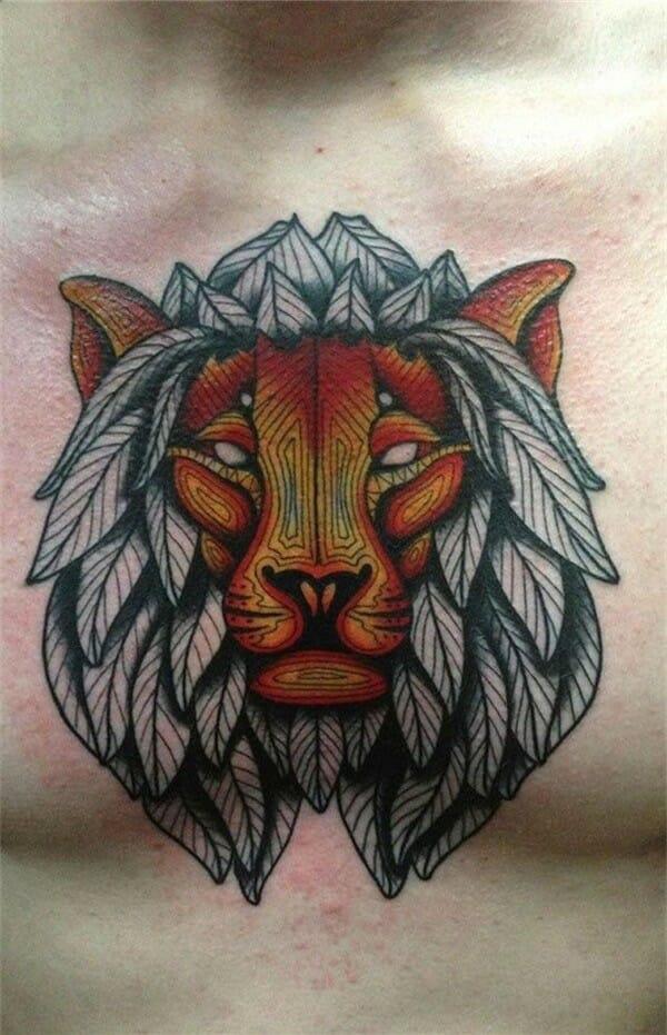 Lion Chest Tattoo