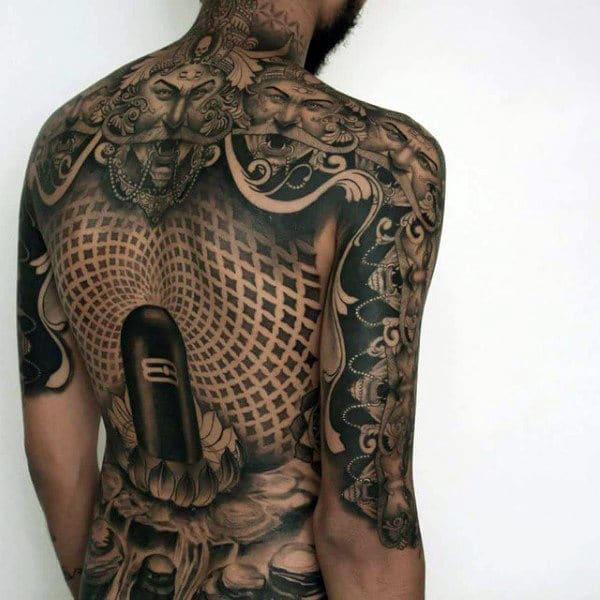 Linga on Lotus Back Tattoo