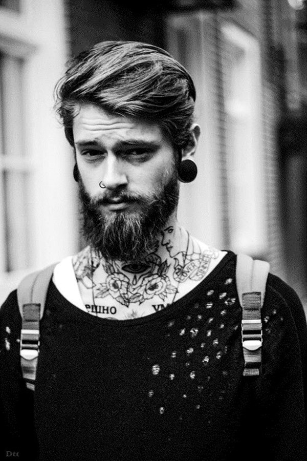 Slicked Medium Hair with Cool Beard Style