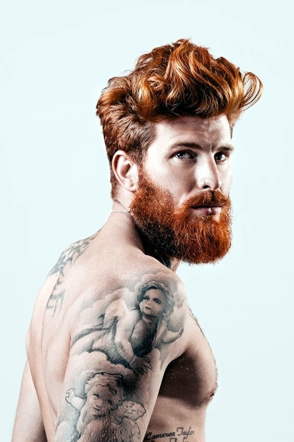 Medium Length Ginger Pompadour with Thick Full Beard