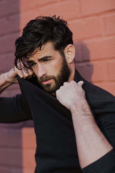 Brown Medium Undercut Hairstyle with Full Beard