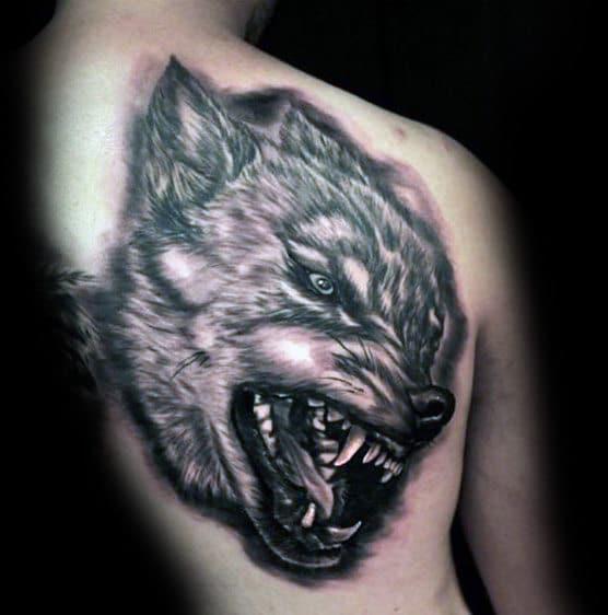 Aggressive Wolf Tattoo