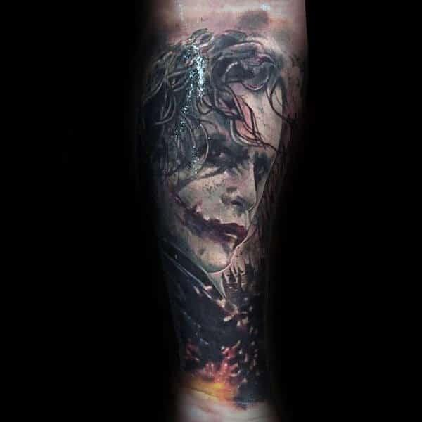 Realistic The Joker Themed Tattoo Sleeve