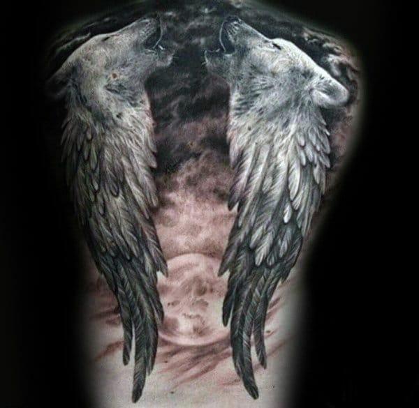 Angel Wing Wolf Tattoo
