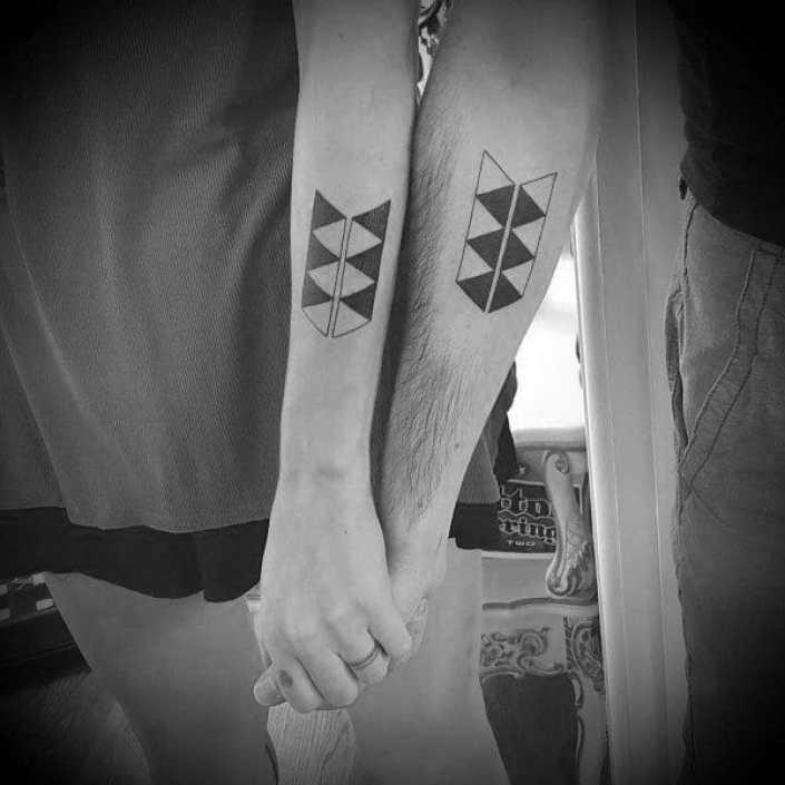 Couples Geometric Tattoo