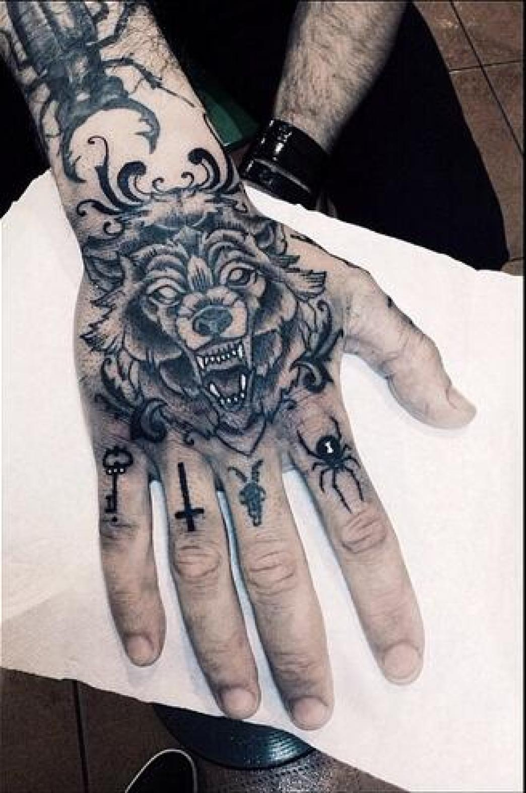 Awesome Wolf Hand Tattoo