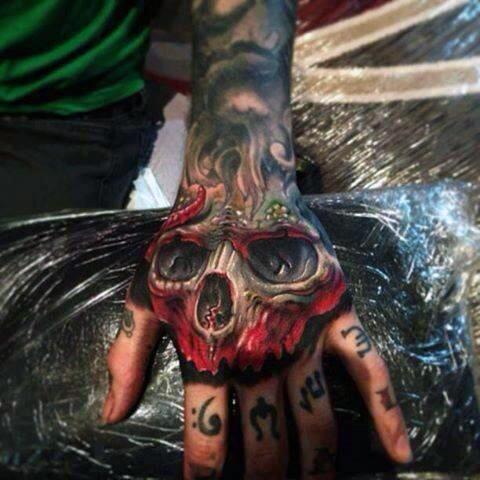 Cool Skull Hand Tattoo