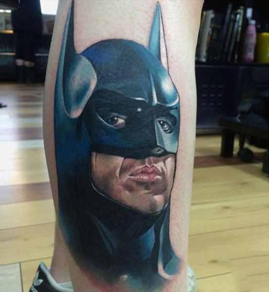 Batman Cartoon Leg Tattoo