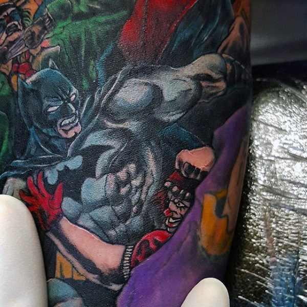 Batman & Villains Bicep Tattoo with Colour