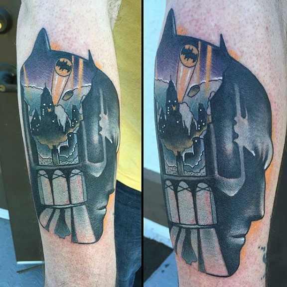 Batman Portrait with Symbol Forearm Tattoo