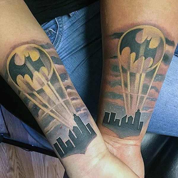 Bat Signal Arm Tattoo