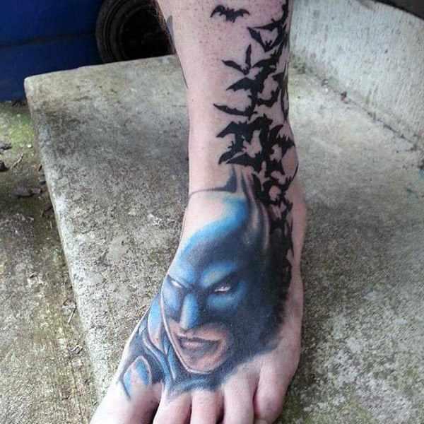 Batman Design with Flying Bats Leg Tattoo