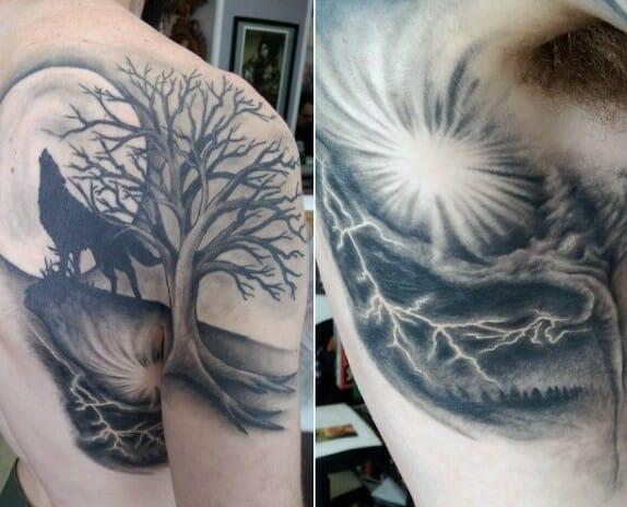 Mens Wolf Tribal Tattoo