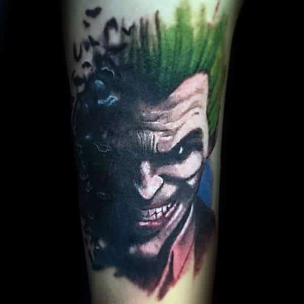 The Joker Themed Upper Arm Tattoo
