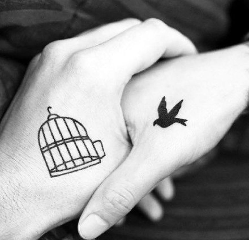 Bird & Cage Couples Tattoo
