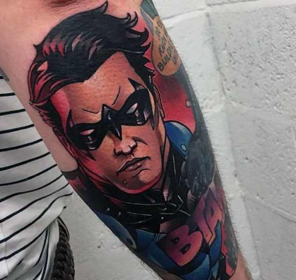 Comic Style Robin Arm Tattoo