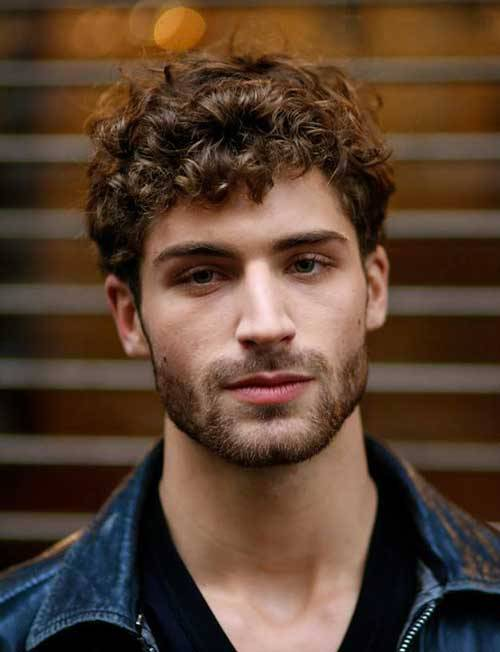 Curly Medium Brown Hair with Medium Stubble