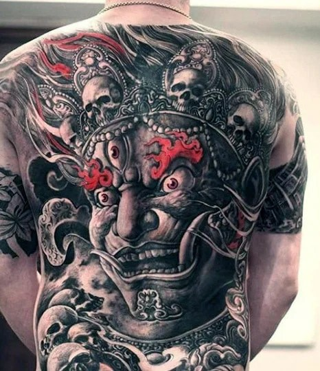 Evil Demon Back Tattoo
