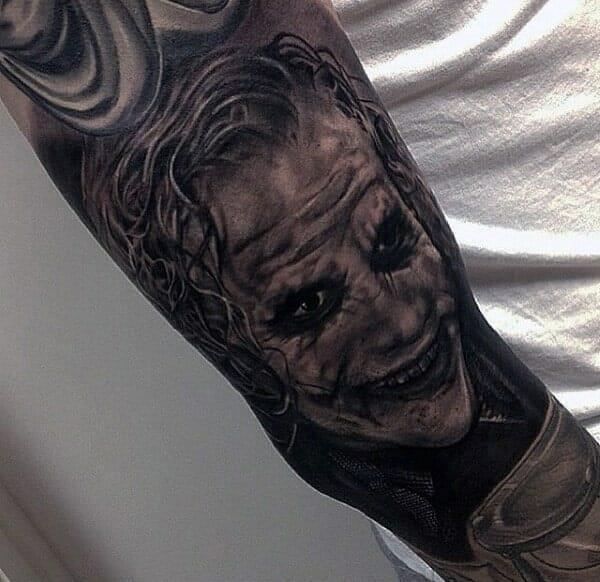 Detailed The Joker Forearm Tattoo