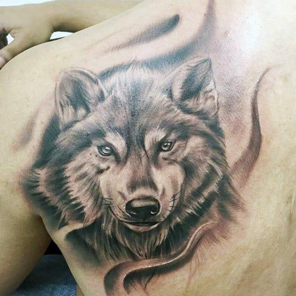 Shaded Wolf Tattoo