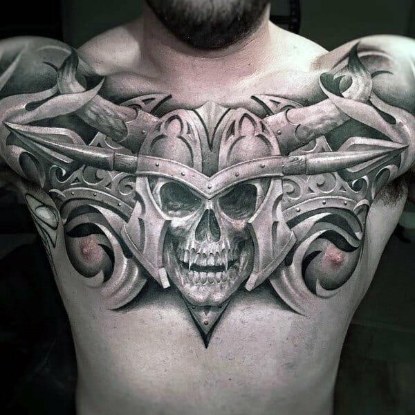 Warriors Skull Helmet Tattoo
