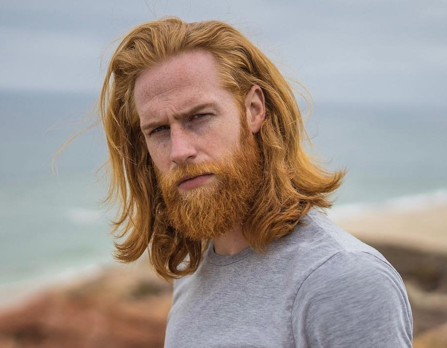 Man with Ginger Long Hair And Beard