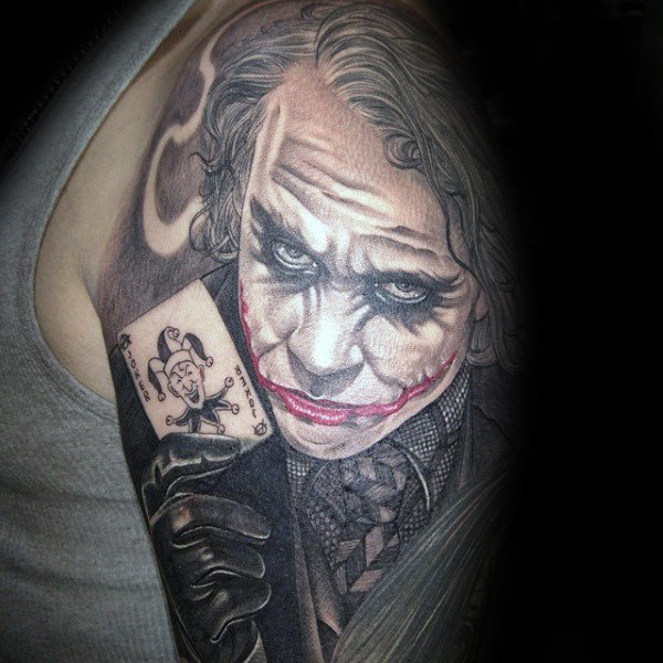 The Joker Half Sleeve with Playing Cards Tattoo