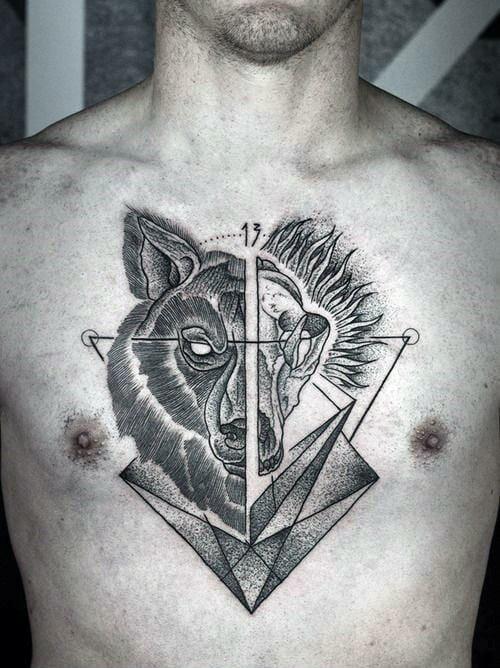 Half Work Half Skull Tattoo